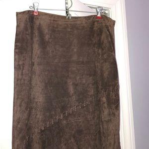 100% Genuine Suede Full Length Skirt
